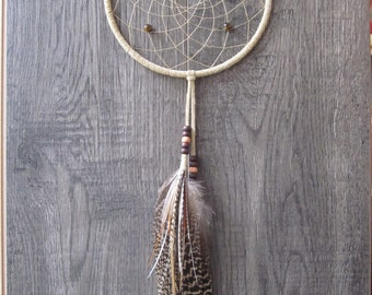 Dream Catcher Buckskin Suede with Peacock and Rooster Feathers
