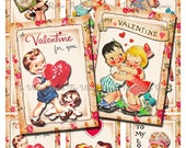 Printable Valentine cards, tags.  Instant Download.  Retro-vintage digital collage sheet. atc aceo sized.  Set of 9.