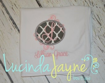 Personalized Applique Receiving Blanket
