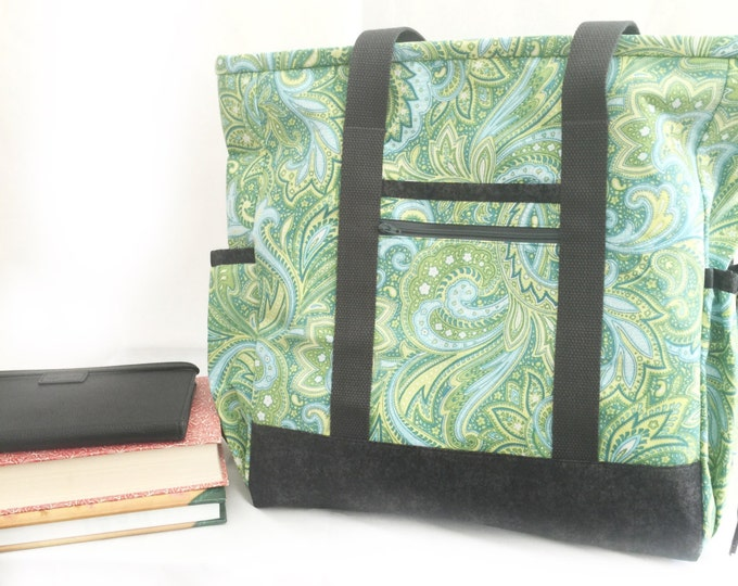 Personalized Teacher Tote Bag with Pockets and Zipper, Blue and Green Paisley Kitchen Sink Tote, Travel Tote, Work Tote, Diaper Bag