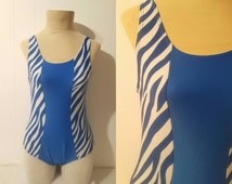 1980s Vintage Women's Zebra Striped Blue and White Swimsuit Size 14