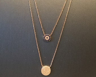 Layered Evil Eye Disc Necklace-Rose Gold