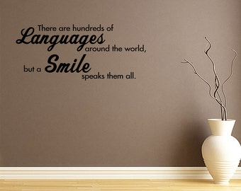 Wall Decal Quotes Smiles Speak All Languages  Wall Quote Decal Vinyl Sticker Art Lettering Decor  Room Decor Sayings Letters Decals (144)