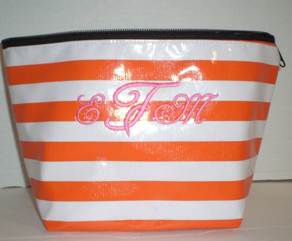 Orange stripe XL Cosmetic Monogrammed Oilcloth