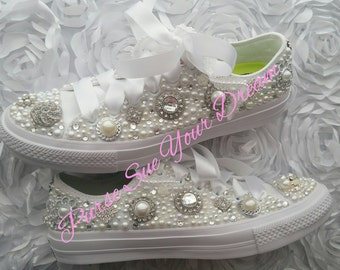 custom swarovski crystal vintage chic design converse ii shoes bridal shoes wedding shoes
