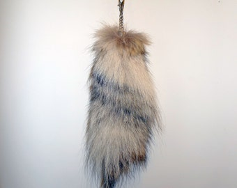 Raccoon Tail Keychain - Natural Fur Color