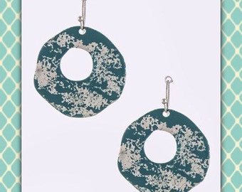 Turquoise tone and Silver Paint Splatter Earrings