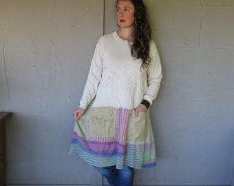 upcycled tunic dress Romantic clothing Large X L artsy sweater dress Eco dress large Patchwork Tunic Boho dress by LillieNoraDryGoods