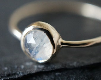 10K Solid Yellow Gold Rainbow Moonstone bezel setting ring- FREE Shipping- made to order- 3 weeks- modern minimalist jewelry
