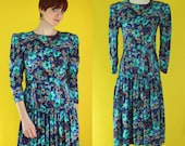 Vintage 80s Blue Floral Dress - Long Sleeve Dress - Drop Waist Dress - Teal Floral Cotton Dress - Pintuck Midi Dress - Size Small
