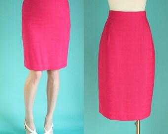 Vintage 80s Skirt - Hot Pink Skirt - Pencil Skirt - High Waisted Skirt - Knee Length Skirt - Elastic Waist Skirt - Modest Skirts Size Medium