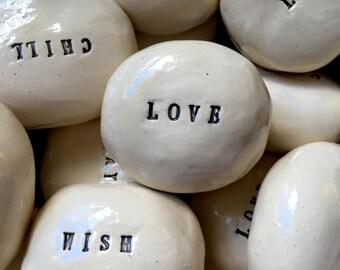Custom Ceramic Message Stones Set of 3