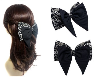 Victorian Black and Leopard Double Hair Bow- Large Hair Bow-Vampire-Gothic-Modern