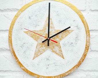 GOLD STAR Modern Wall Clock, Home Decor, wall clocks handmade, Modern Unique Golden office wall clock, white clock