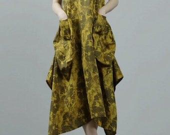 avant-garde zen style hand-dyed 100% natural linen kangaroo pocket sundress