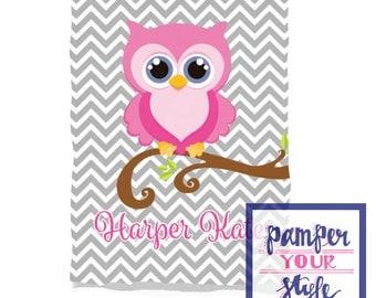 Owl Blanket - Monogrammed Owl Baby Blanket - Toddler Baby Blanket - Any color Owl Nursery Blanket - Personalized Owl Baby Shower Gift