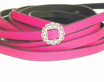 1Yd.HOT PINK CAVIARE textured  Flat Leather//Embossed 10MM Genuine Flat Leather Cord//1Yd. 10MM X 2MM Flat Leather Cording