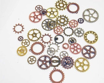 25PC. or 50PC. Mixed Finishes Steampunk gear & cog  assortment//Mixed Plated Finish Vintage Style Steampunk Gear and Cog Charms