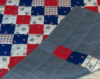 Handmade Baby Quilt, red, white & blue