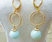 Amazonite Gold Ring Earrings - Teal Moss Light Blue Golden
