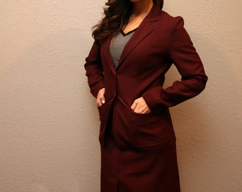 Vintage Women's Burgandy 2 Piece Skirt Suit/ Retro Wine Suit