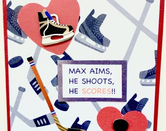 Hockey Valentine Card-Personalized With First Name And Your Relationship