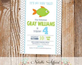 Gray Chevron Green Orange Blue Fish Little Fisherman BIRTHDAY invitation - fishing birthday party - no fish tale - any age