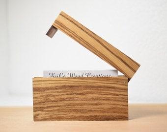 Zebrawood Wooden Business card holder / card case. Wooden Credit card holder