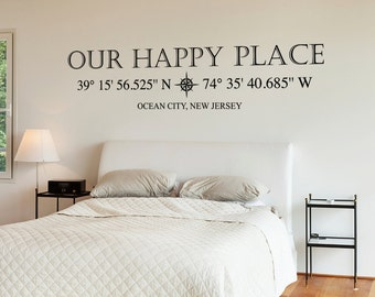 Our Happy Place Compass Rose Vinyl Wall Decal with customizable GPS Coordinates and town name K618