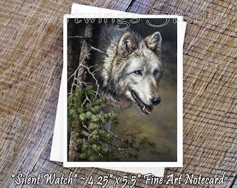 Wildlife Note Cards - Southwestern Wildlife - Wild Animal Gray Wolf Note Cards - Wolf Prints - Animal Note Cards - Wildlife Art