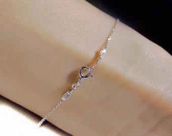 Delicate 14k Gold Front & Back Diamond Baguette Bracelet
