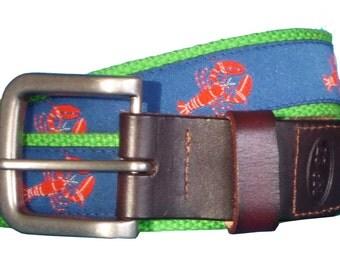 Red Lobster Leather Belt / Leather Belt / Canvas Belt / Preppy Webbing Belt for Men, Women and Children/Red Lobster on Navy Ribbon