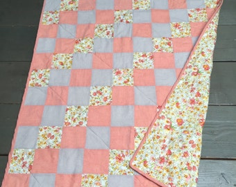 Apricot Baby or Throw Cotton Quilt