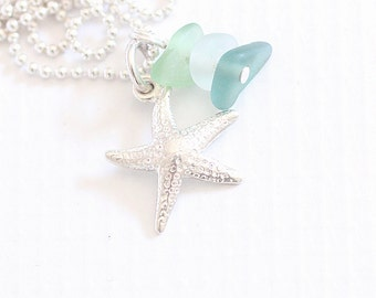 "Sea Glass Jewelry, Silver Starfish Sea Glass Necklace, ""Beach Glass Jewelry"" Seaglass Summer Necklace"