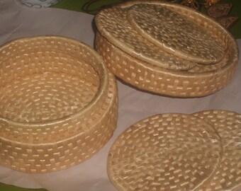 Vintage woven basket COASTER SET