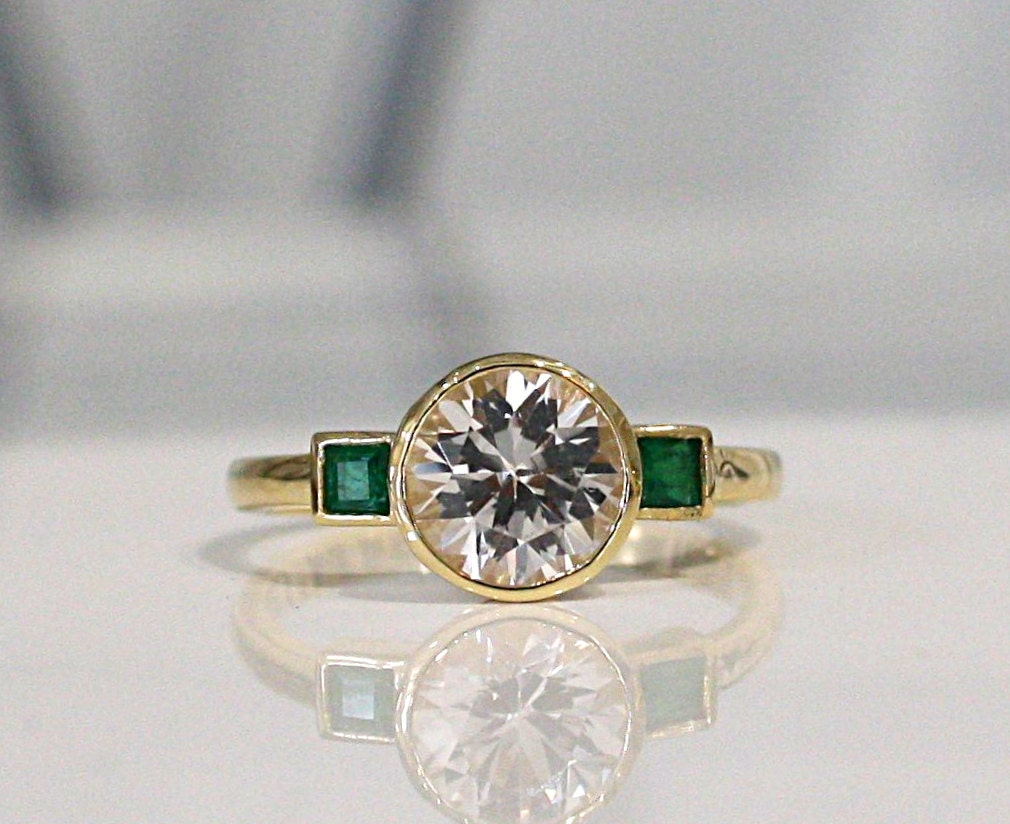 white sapphire and emerald 3 stone engagement ring in 14k gold. Black Bedroom Furniture Sets. Home Design Ideas