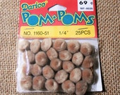 Pompom's, Brown, Tiny, Pom Pom's, Balls, Soft, Tan, Embellishments, Craft Supplies, Trim, 25 Pieces, Small, 1/4 inch