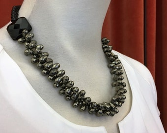 Necklace Onyx with pyrite (Nr. 9)