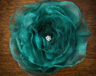 FLOWER HAIR CLIP with Swarovski crystals - Emerald Green Organza (Large)