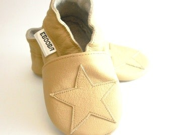 soft sole baby shoes infant kids children beige star on beige 0 6 ebooba ST-14-BE-M-1