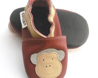 soft sole baby shoes infant gift maroon monkey  12-18m ebooba 34-3