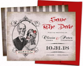 Skull save the date, Gothic invitation, Calaveras save the date, skull engagement invite, Day of the dead invitation, Until death do us part