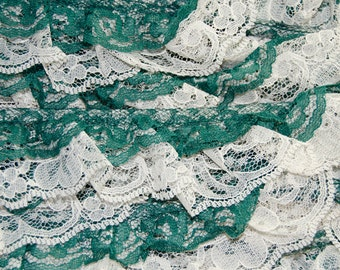 Forest Green and Off White Floral Ruffled Lace BTY