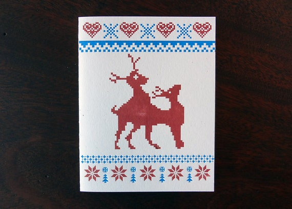 Frisky Reindeer. Funny letterpress holiday christmas greeting card. Single or boxed set.