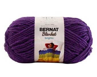 Bernat Blanket Brights Yarn Pow Purple Large Skein 300 Grams New Home Decor Color