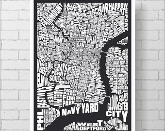 Philadelphia Map Print - Custom Philadelphia Typography Map with Neighborhoods and Landmarks, Various Colors, Type Map Art Print Poster