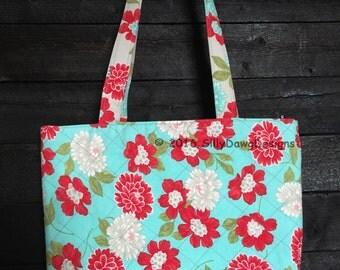Handmade Quilted Teal & Red Floral Tote Shoulder Handbag