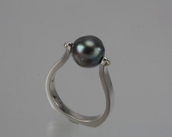 Cook Island Black Pearl Sterling Silver Ring - 35-15782