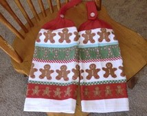 Christmas - Gingerbread Boy W/Candy Canes  Knit Top Kitchen Towels
