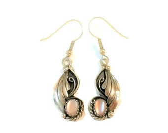 Native American Sterling Silver Mother of Pearl Dangle Earrings